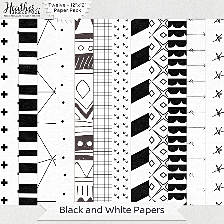 "Black and White Geometric Digital Papers | 12 x 12"" digital papers by Heather Greenwood Designs"