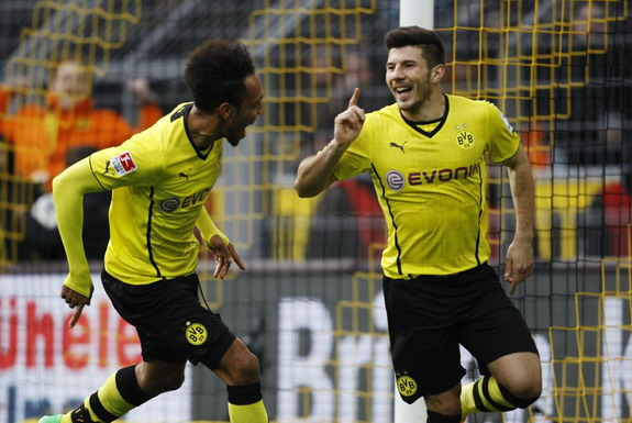 Miloš Jojić celebrates his first ever Dortmund goal with teammate Pierre-Emerick Aubameyang