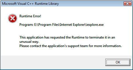 Runtime error en navegadores e Internet Explorer, Solucion
