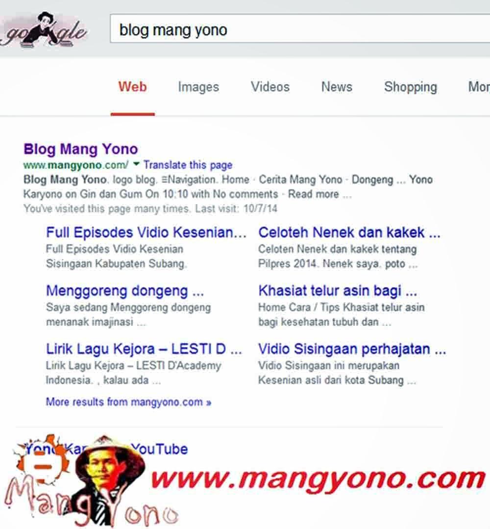 Sik ... Asik ..  Sitelink Blog Mang Yono Muncul.