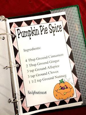 Pumpkin Pie Spice Mix Recipe Card Printable