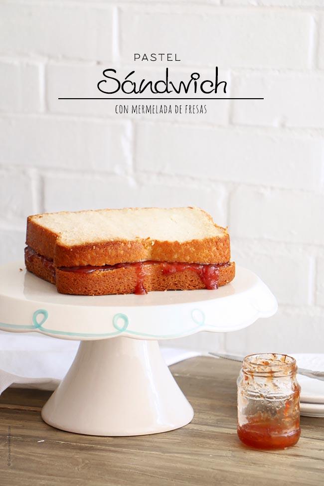 Pastel Sándwich con mermelada de fresas