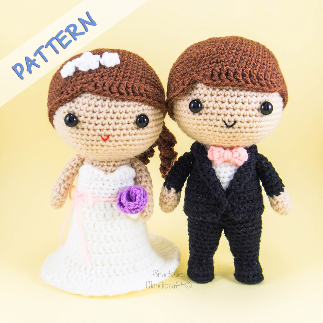 Bride and Groom Amigurumi Pattern ~ Snacksies Handicraft ...