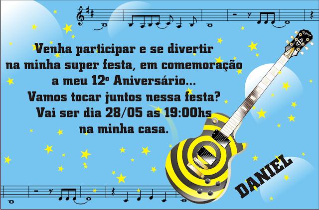 Convite para festa de aniversário infantil Tema Música
