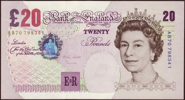 British Bank Notes 20 Pound Sterling note 1999 Her Majesty Queen Elizabeth II