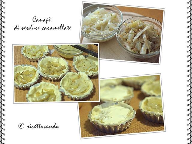 Canapè di cipolle e finocchi caramellati la preprazione