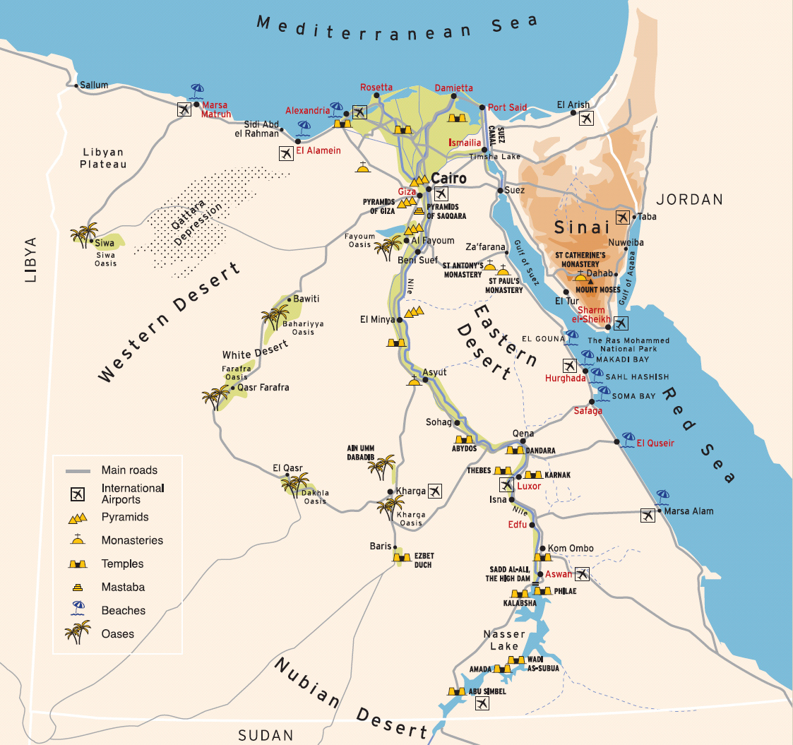 What to visit in Egypt The tourist map of Egypt