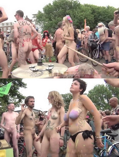 Naked Bike Ride United Kingdom 899-910 (Hordes of nude cyclists)