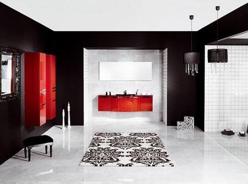 Baños Modernos Rojos:Si buscas un cambio dramático, este diseño te puede gustar Un baño
