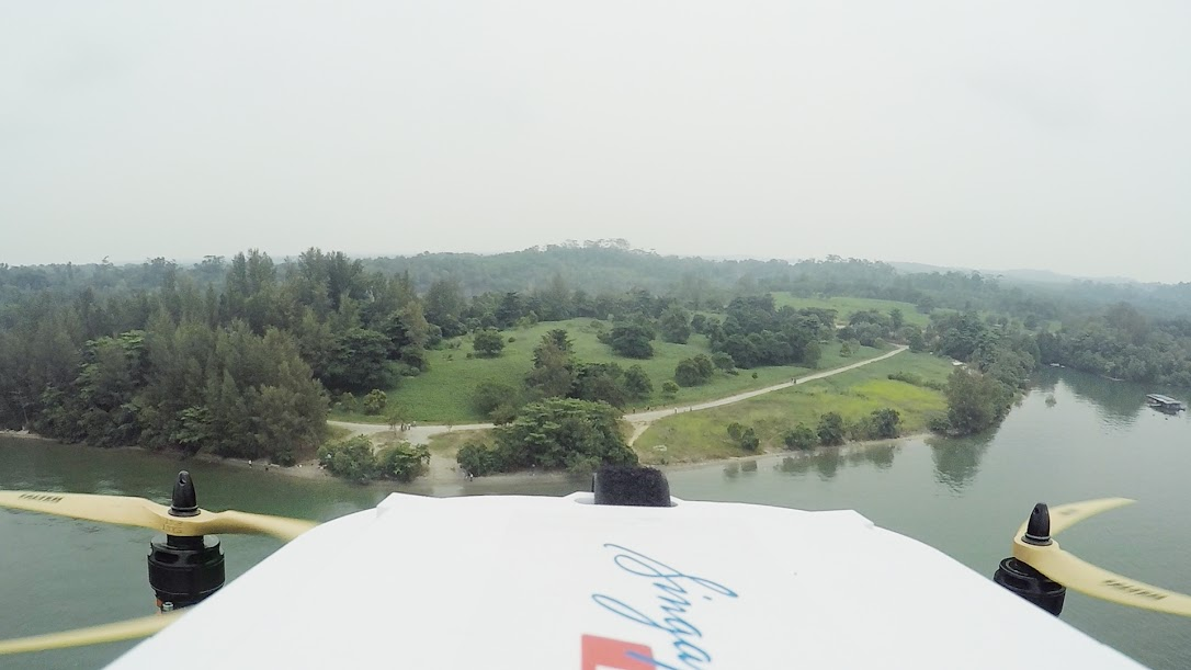The view from the drone en route to Pulau Ubin
