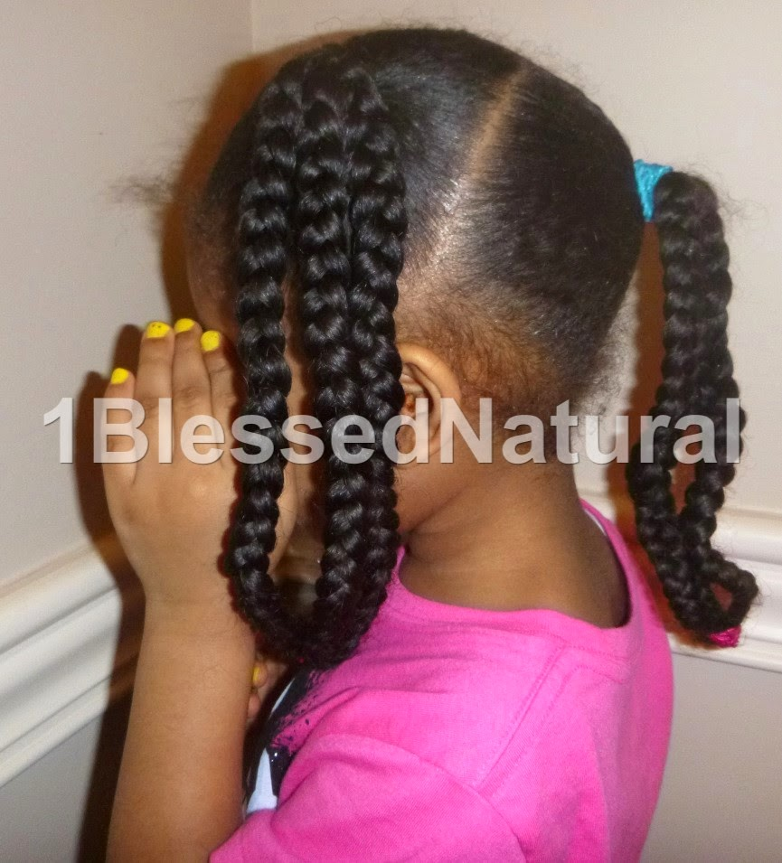 Copyright 2015 1BlessedNatural- side view of Little Sister Natural's banded braids