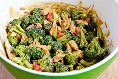 do is mix the broccoli and red bell pepper with the chicken/dressing ...