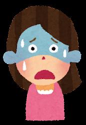 辛い表情の女性のイラスト(4段階)
