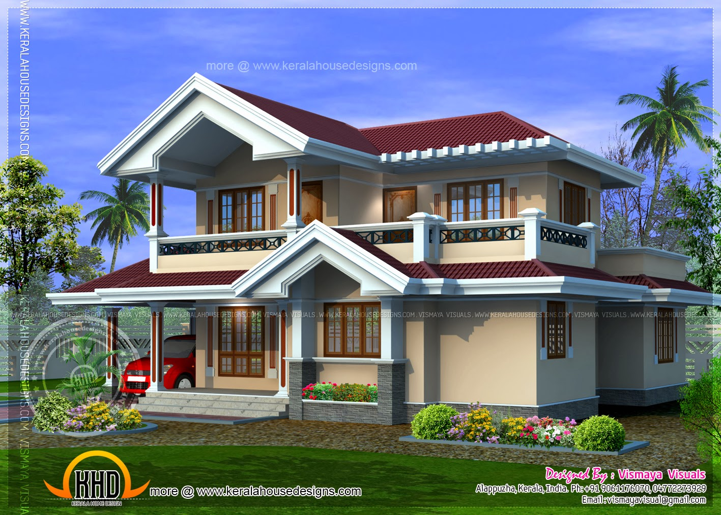 Kerala style villa plan in 1850 square feet home kerala for Villa plans in kerala