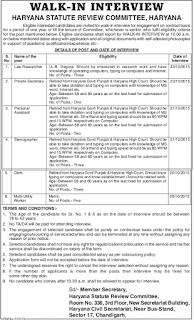 Haryana Statute Review Committee Recruitment