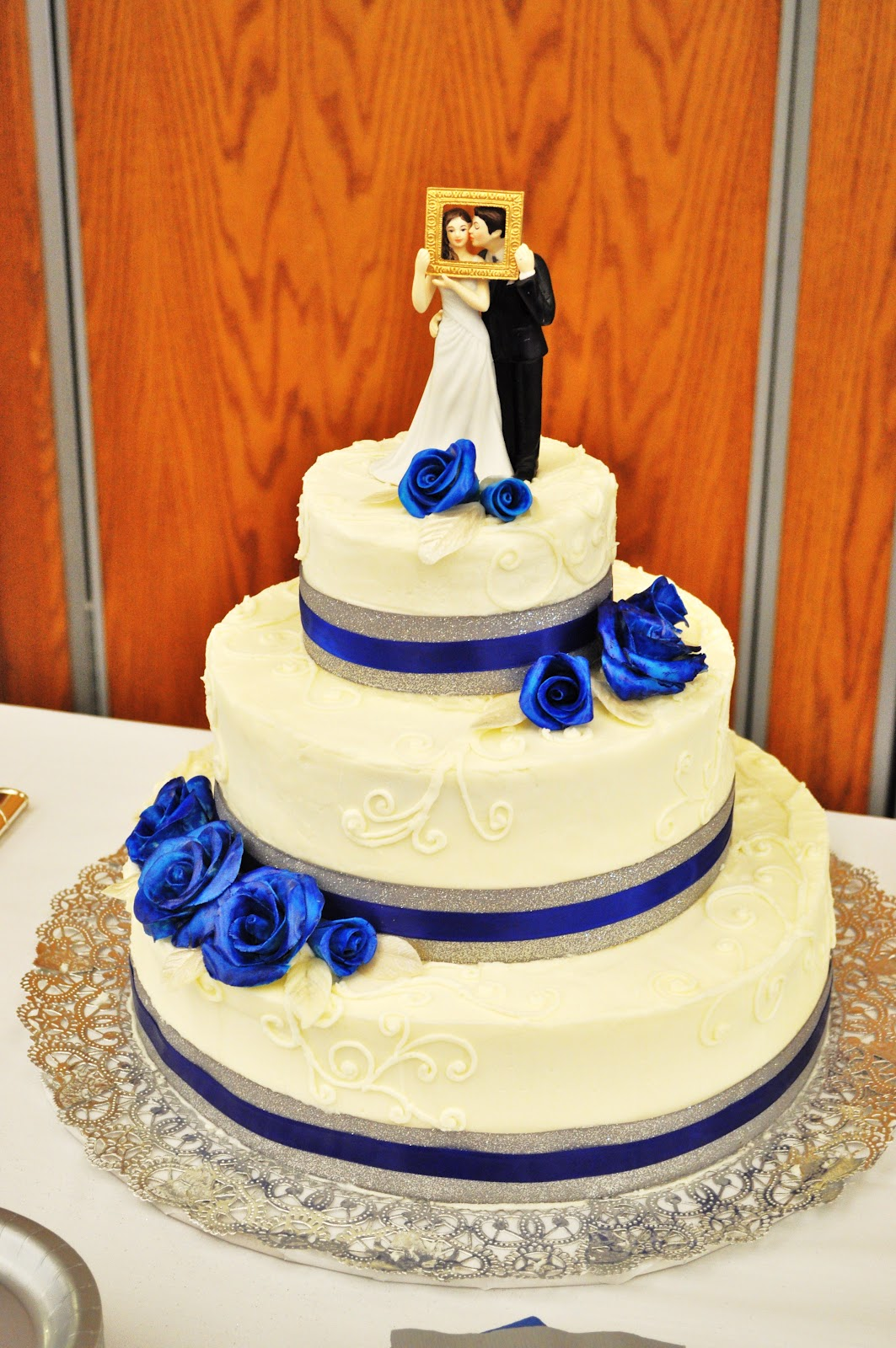 CakeJoy Royal Blue and Silver Wedding