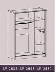 Tampak Dalam Lemari Pakaian Sliding LP 2689 Graver Furniture