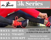 5k race series in Castleisland, Kerry...Fri 31st Aug, 7th & 14th Sept