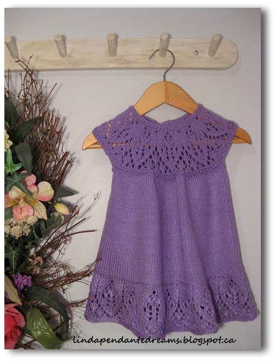Lace knitted baby dress pattern
