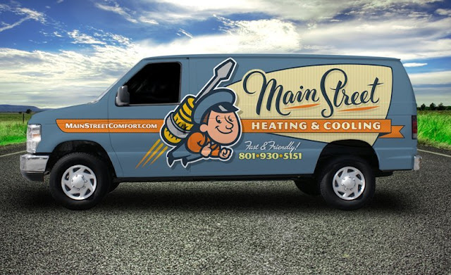 example of HVAC company vehicle wrap design