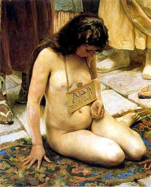 naked boy standing over laying girl roman painting
