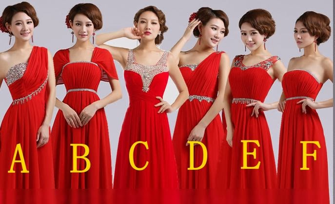 Diamond Beaded 6-Design Red Bridesmaid Long Dress
