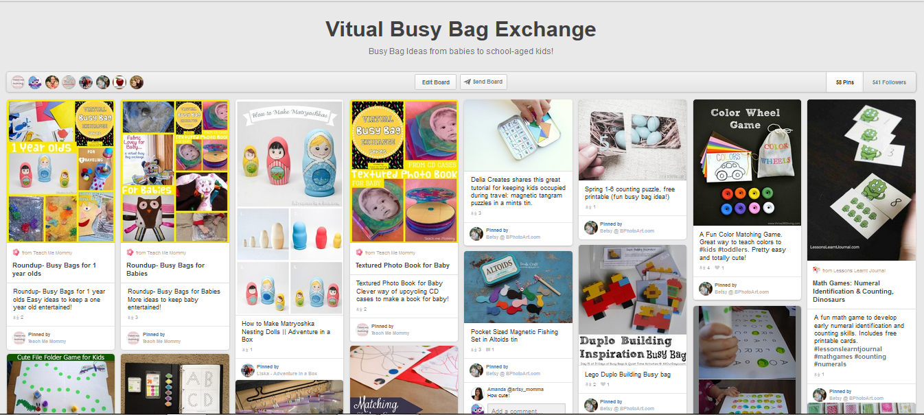 Virtual Busy Bag Exchange Pinterest board