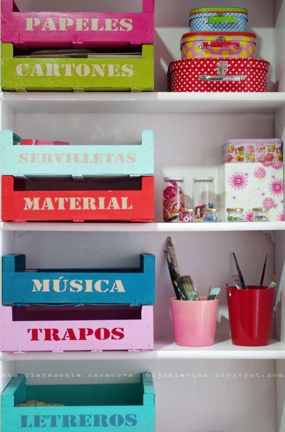 Cajas de fresas recicladas