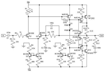 30w Class Ab Amplifier Circuit With