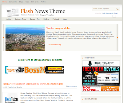 Flash News Blogger Fast Loading Template