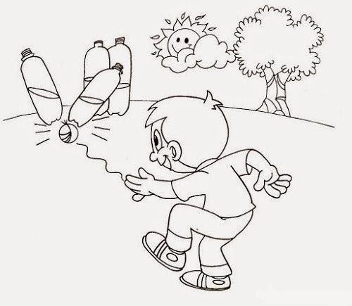 Colorear niño jugando a los bolos