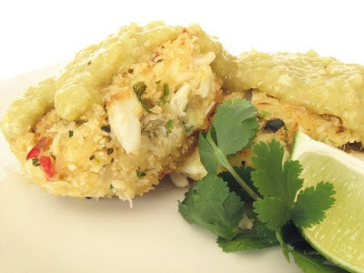 Crab Cakes With Tomatillo California Avocado Salsa Recipe — Dishmaps