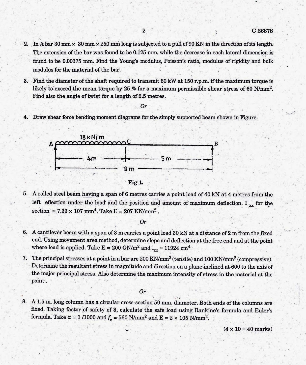 Calicut University Updates 4th Semester B Tech Mechanical Draw The Shear Force And Bending Moment Diagrams Of Beamshown Mechanics Solids May 2012