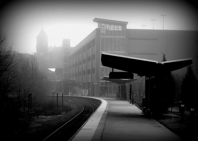MBTA, Commuter Rail, Station, Salem, Massachusetts, shadow, fog