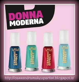 DONNA MODERNA - LAYLA Smalto Ceramic Effect - nail laquer - omaggio - gratis - campione - tester - rivista - giornale - settimanale - azzurro tiffany - rosso chanel