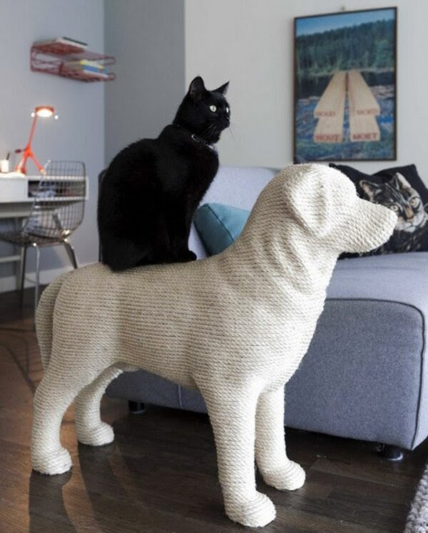 Funny cats - part 89 (40 pics + 10 gifs), cat sits on the dog statue