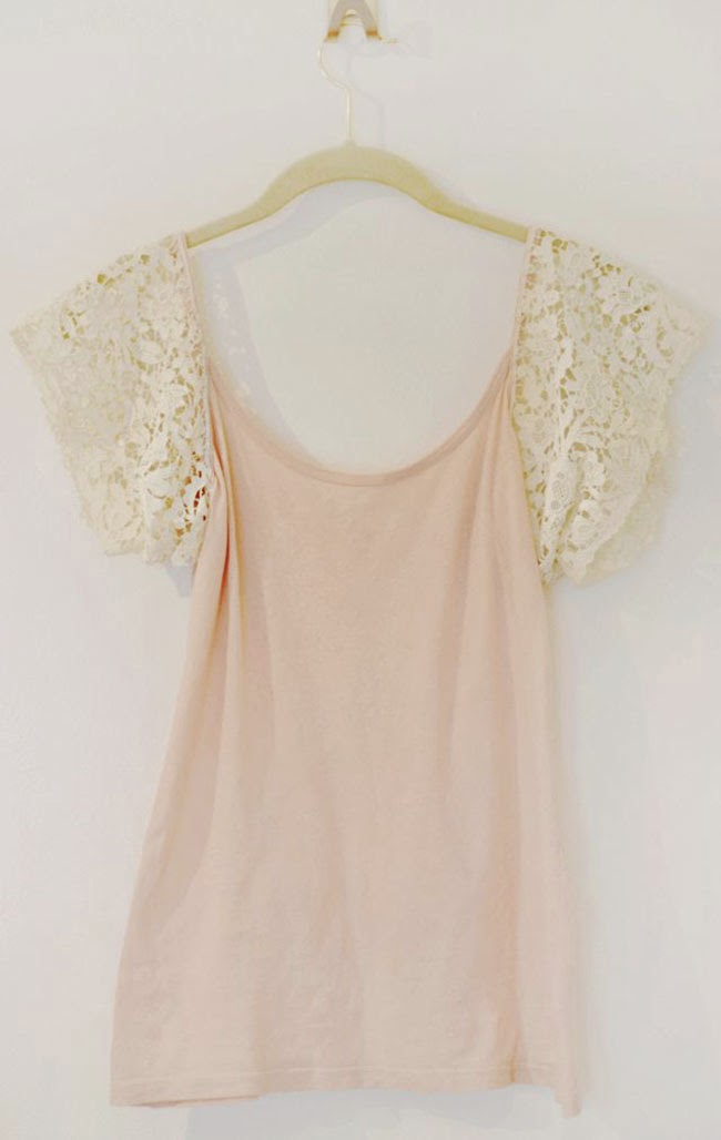DIY T shirt Refashion Ideas with white Lace Sleeves - magrush.com