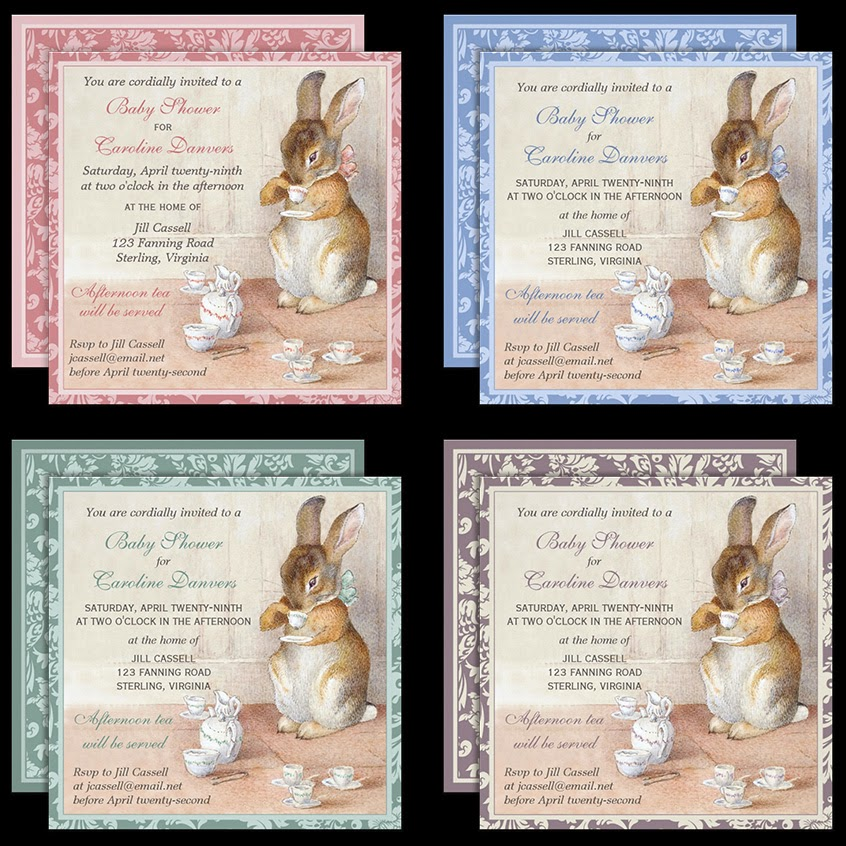 Imagina on zazzle beatrix potter bunny rabbit baby shower tea beatrix potter little rabbit baby shower invitations now in four color choices click image to view invitation choices at high resolution in store filmwisefo Choice Image