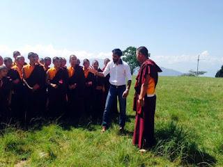 Young Filmmaker Devir Singh in Kalimpong Durpin Monastery with lama in kalimpong