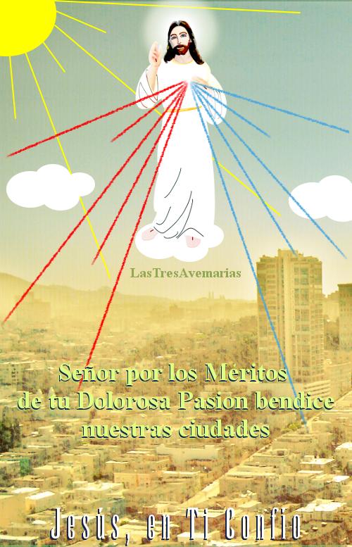 imagen de jesus en una nueve con rayos de misericordia