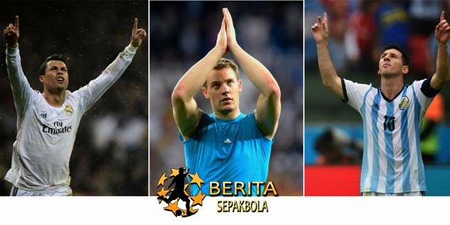 Ronaldo, Messi, Neuer Masuk Tiga Besar Ballon d'Or