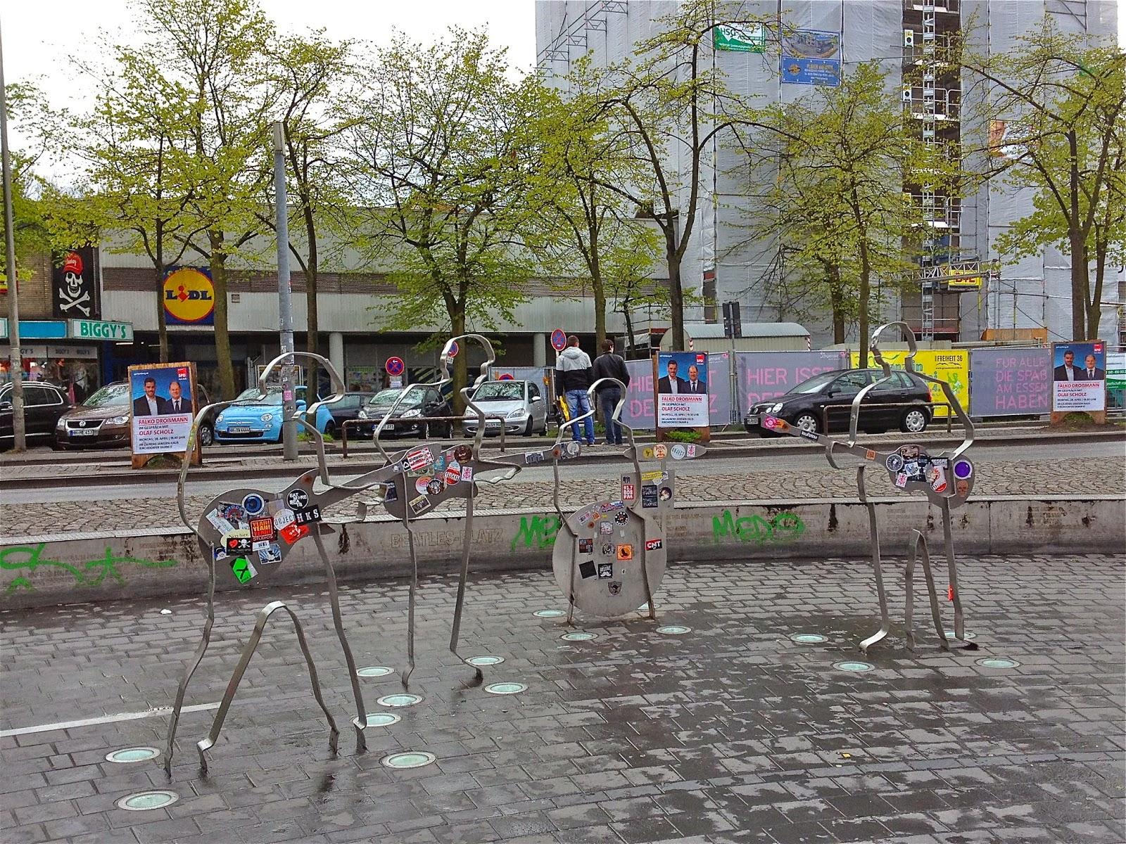 Picture of the Beatles memorial in St Pauli, Hamburg.