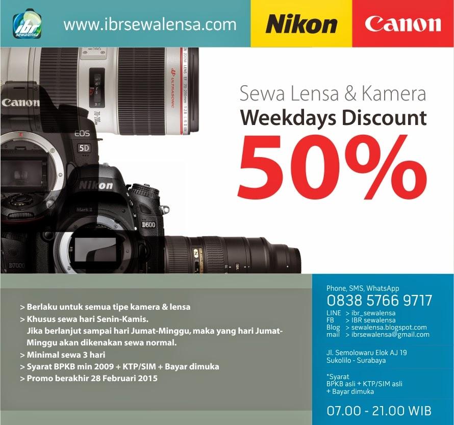 promo diskon 50% sewa lensa & sewakamera Surabaya, Sewa kamera Jakarta, Sewa Kamera Jogja, Rental K