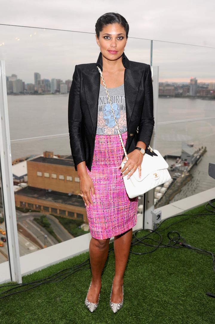 rachel roy chanel bag tweed skirt