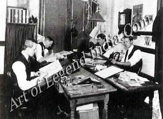 This photograph shows Hopper in 1906 (seated right foreground) at work in the advertising agency of C. C. Phillips & Co. Hopper always looked back on his commercial career with 5011k' bitterness, although his period with Coles Phillips earned hint enough money to finance his painting trips to Paris.