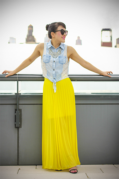 Chambray Top and Maxi Skirt
