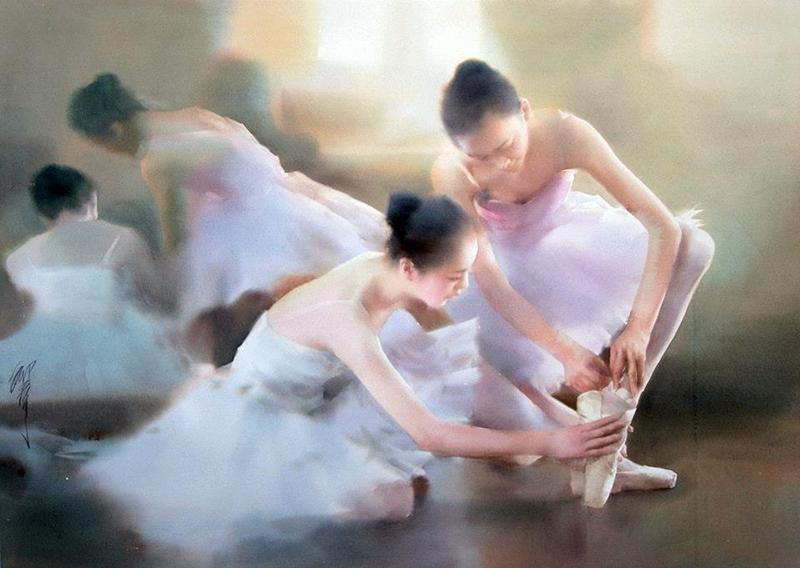 Liu Yi 1958 | Chinese Figurative Watercolour painter | The Ballet dancer