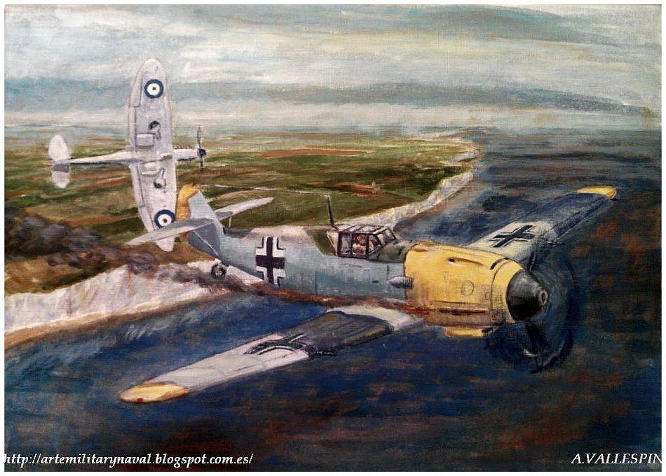 Segunda sesión óleo volando sobre Dover - Batalla de Inglaterra