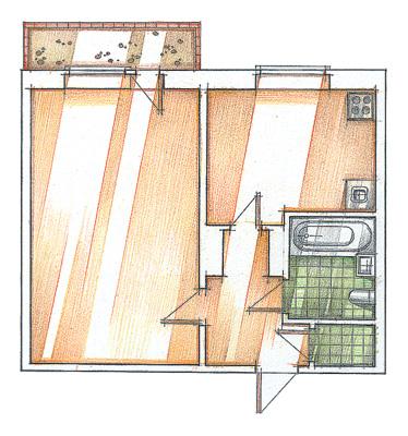 Дизайн 2-х комнатной квартиры в скандинавском стиле 65 квм