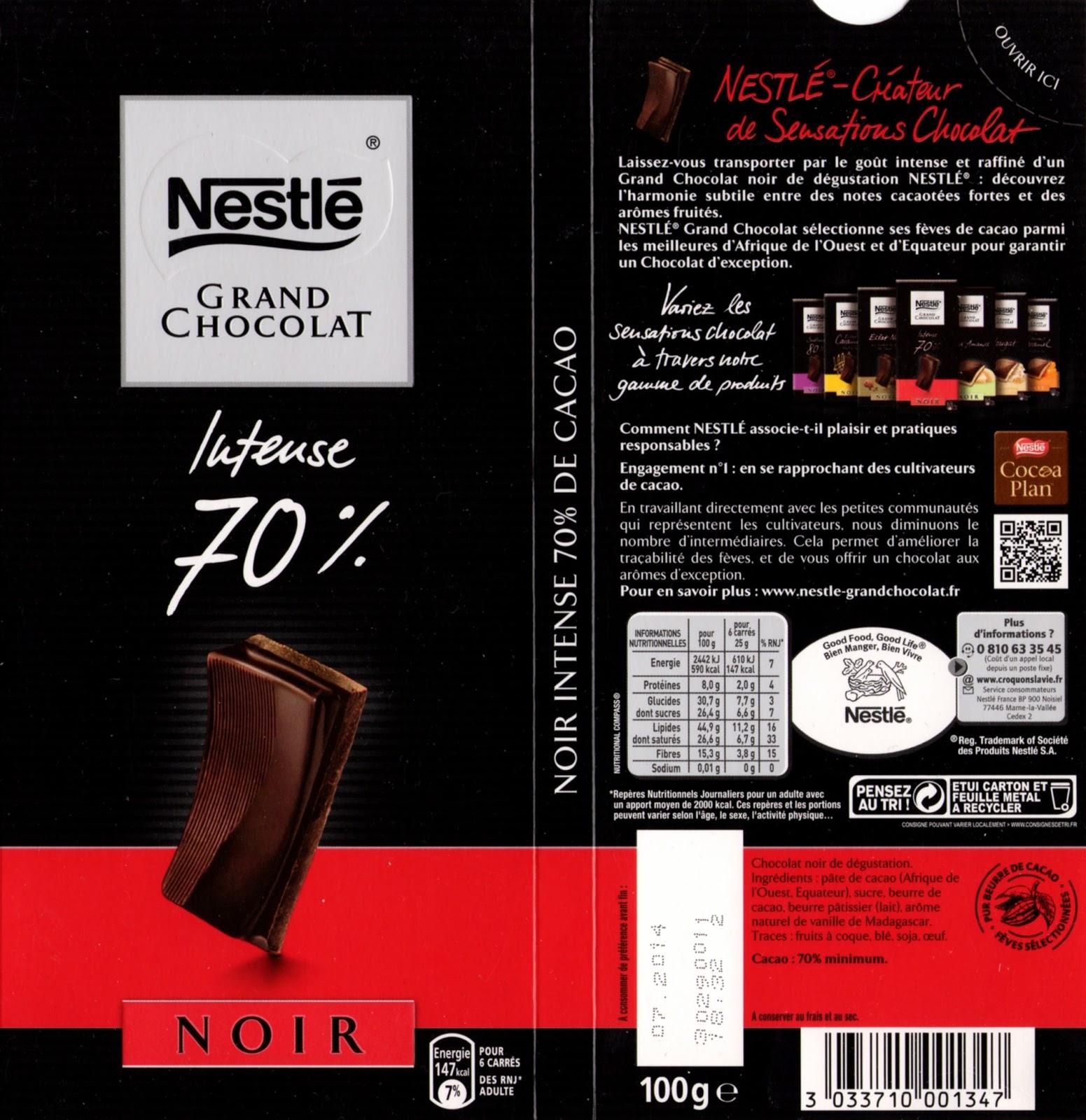 tablette de chocolat noir dégustation nestlé grand chocolat intense 70